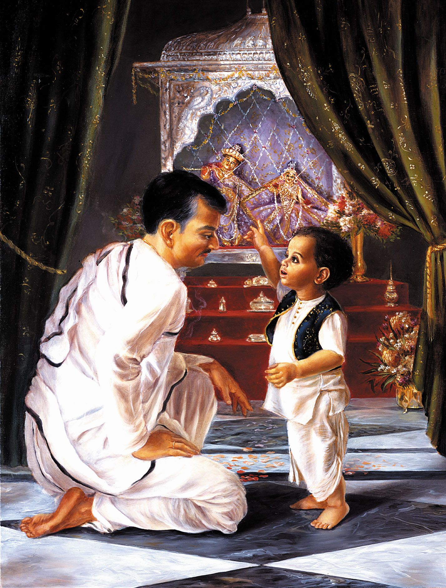 Маленький Абхай с отцом перед Божествами